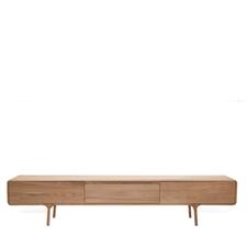 Gazzda Fawn Lowboard - Houten TV meubel | 1 lade en 2 vakken (220x45x45)